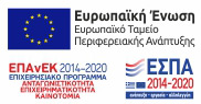 αναφορά στην Ένωση και το Διαρθρωτικό Ταμείο, το λογότυπο του ΕΣΠΑ και το Επιχειρησιακό Πρόγραμμα Ανταγωνιστικότητα, Επιχειρηματικότητα & Καινοτομία